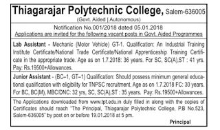 Thiagarajar Polytechnic College(TPT) Junior Assistant Recruitment 2018 & Syllabus, Previous Question Papers