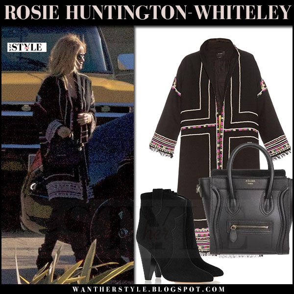 Rosie Huntington-Whiteley in black embellished coat, black jeans and black boots isabel marant roxann what she wore maternity fashion