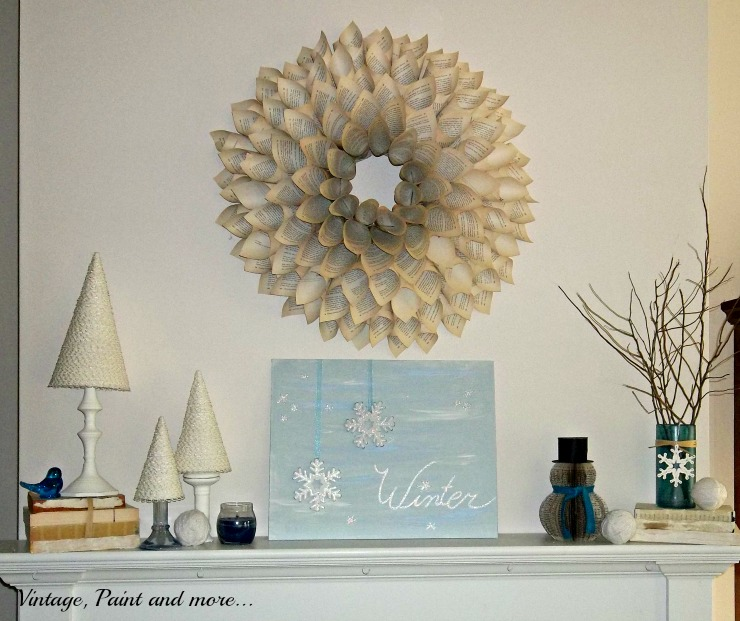 Vintage, Paint and more... winter mantel decor with thrifted and diy crafts from books, paint and cone trees