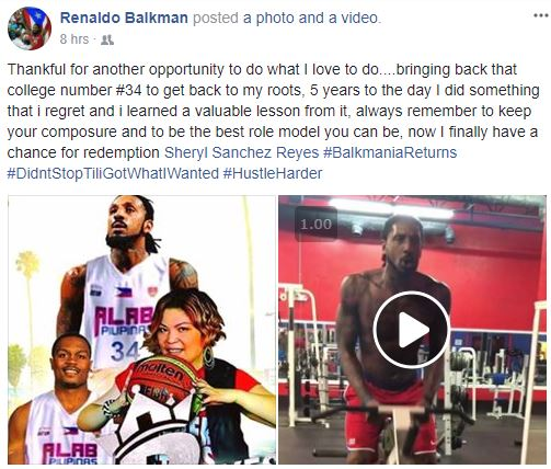 Renaldo Balkman Facebook post ABL