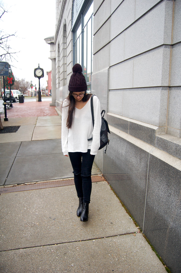 White Sweater Black Jeans Boots