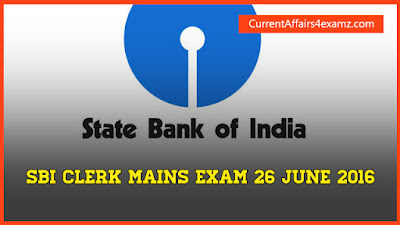 SBI Clerk Exam 26 June 2016 Questions