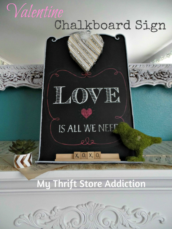 Valentine Chalkboard Upcycle  mythriftstoreaddiction.blogspot.com  Upcycled clearance chalkboard sign