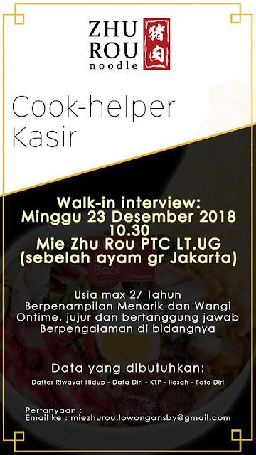 lowongan kerja Kasir zhurou noodle Surabaya