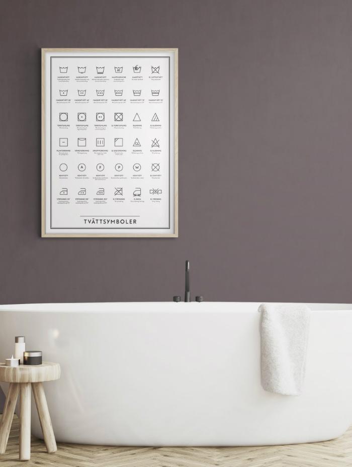 tvättsymboler, tavla, tavlor, badrum, badrummet, tvättstuga, tvättstugor, inredning, dekoration, poster, kunskapstavlan, symboler, webbutik, webbutiker, webshop, inredningsbutik, varberg,