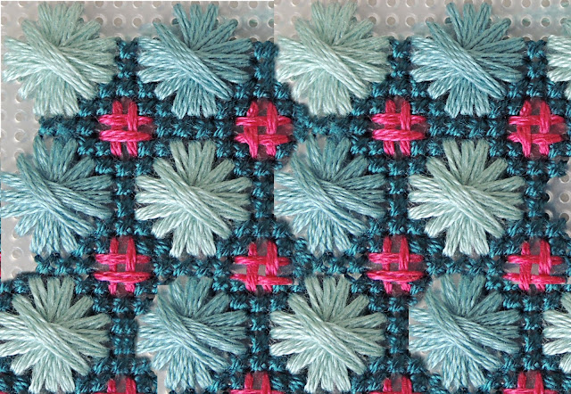 Light blue, teal and pink embroidery samply by bobbin and fred