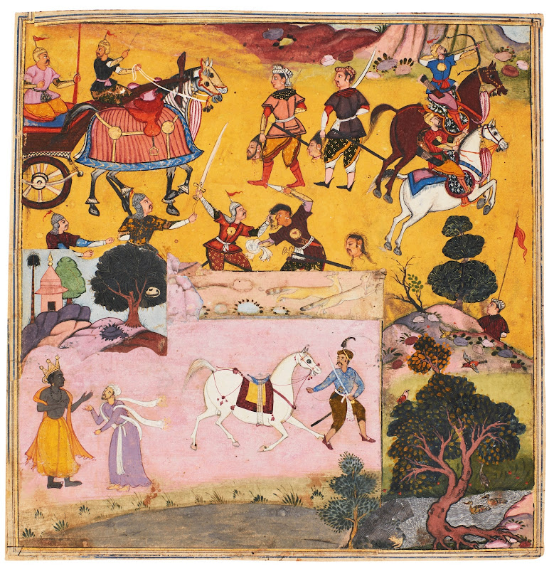 A Composite Illustration from the Razmnama - Mughal Painting 1616-17