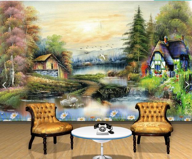 Tranh 3d dán tường sơn dầu phong cảnh làng quê