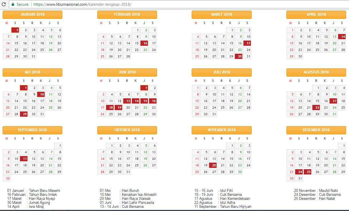 Kalender Cuti Sekolah