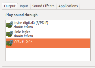 Select the virtual sink in Sound Settings - Pulseaudio