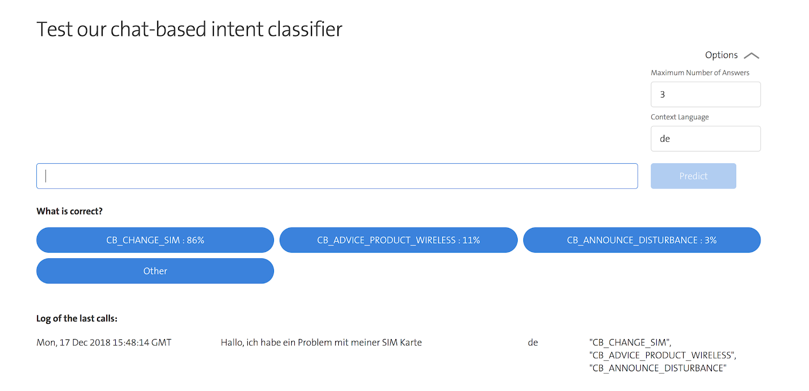 chat based classifier