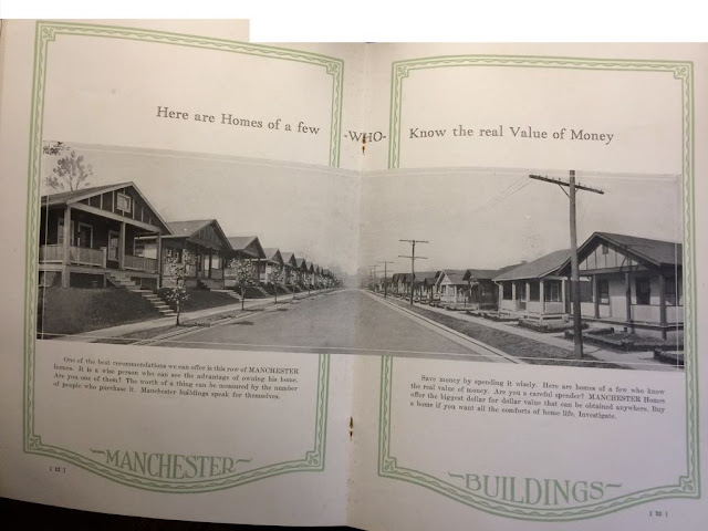 Manchester Buildings 1926 catalog foldout photo showing a street lined with their prefab houses