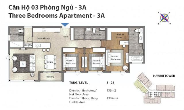 căn hộ 3 phòng ngủ tháp Hawaii dự án căn hộ Đảo Kim Cương