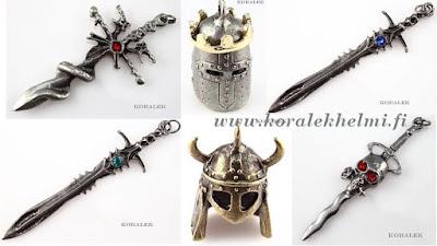 korutarvikkeet, Riipukset, metalliriipukset, helmikauppa, miekat, kypärät