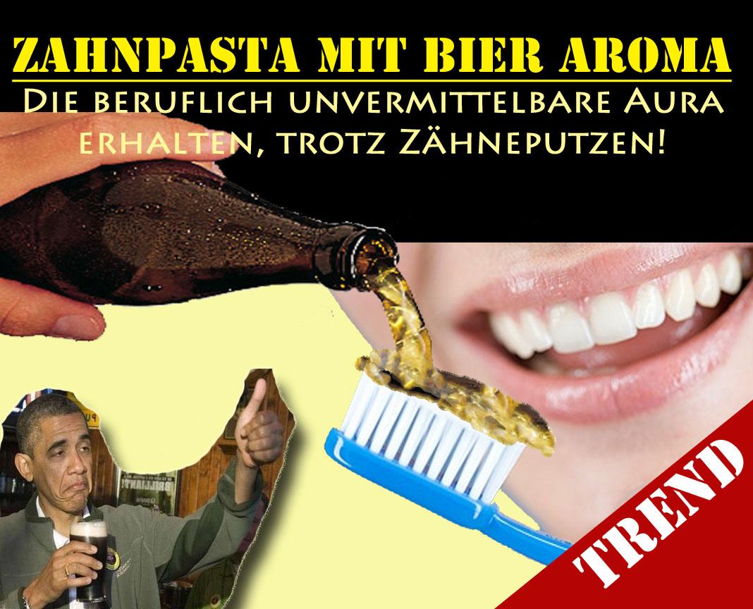 Lustige Satire Trend Zahnpasta mit Bier Geschmack - Spassbilder