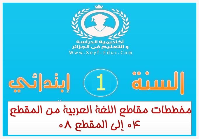 مخططات مقاطع اللغة العربية من المقطع 04 إلى المقطع 08 سنة أولي ابتدائي الجيل الثاني
