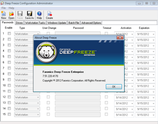 Deep Freeze Running in MS Windows 7 OS