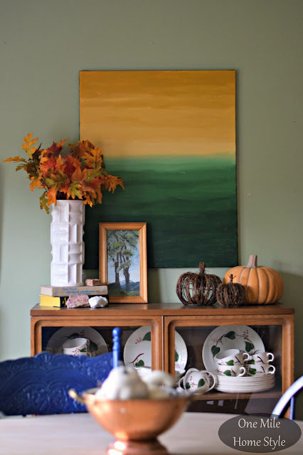 Dining Room Buffet Pumpkin Vignette - One Mile Home Style Fall Home Tour