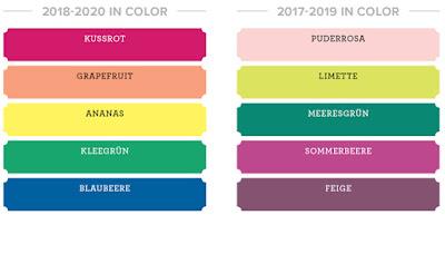 Stampin Up neue Farben Farbernuerung Farbauffrischung neu Farbfamilien In Color 2018 2019 2020 Kussrot Grapefruit Ananas Kleegrün Blaubeere Puderrosa Feige Meeresgrün Sommerbeere Limette