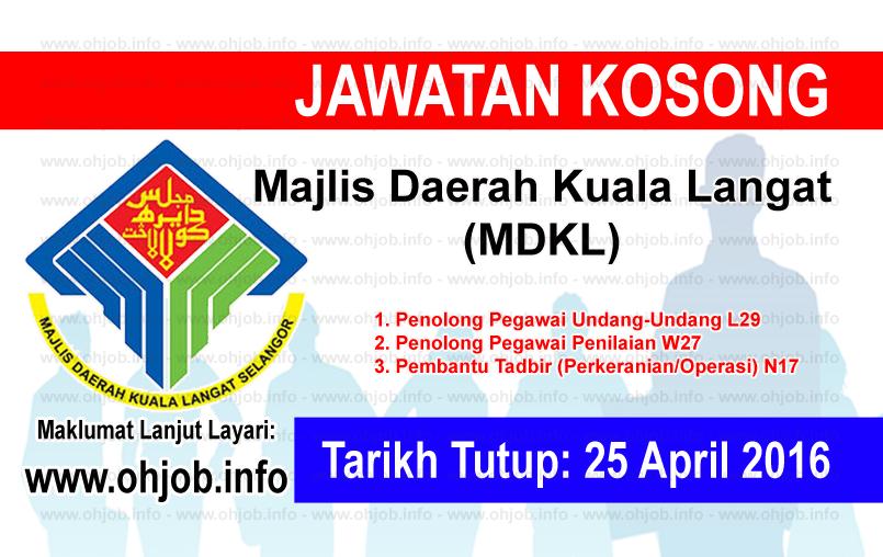 Jawatan Kerja Kosong Majlis Daerah Kuala Langat (MDKL) logo www.ohjob.info april 2016