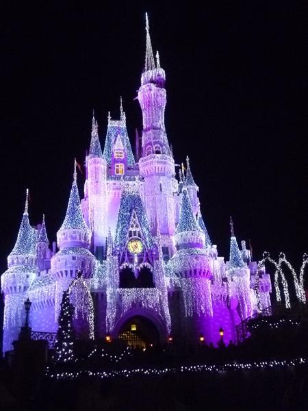 Cinderella Castle on Christmas at Walt Disney World Resort