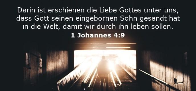 Darin ist erschienen die Liebe Gottes unter uns, dass Gott seinen eingebornen Sohn gesandt hat in die Welt, damit wir durch ihn leben sollen.
