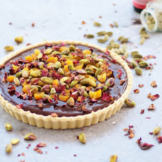 Chocolate Tart with Cardamom, Apricot & Rose Petals