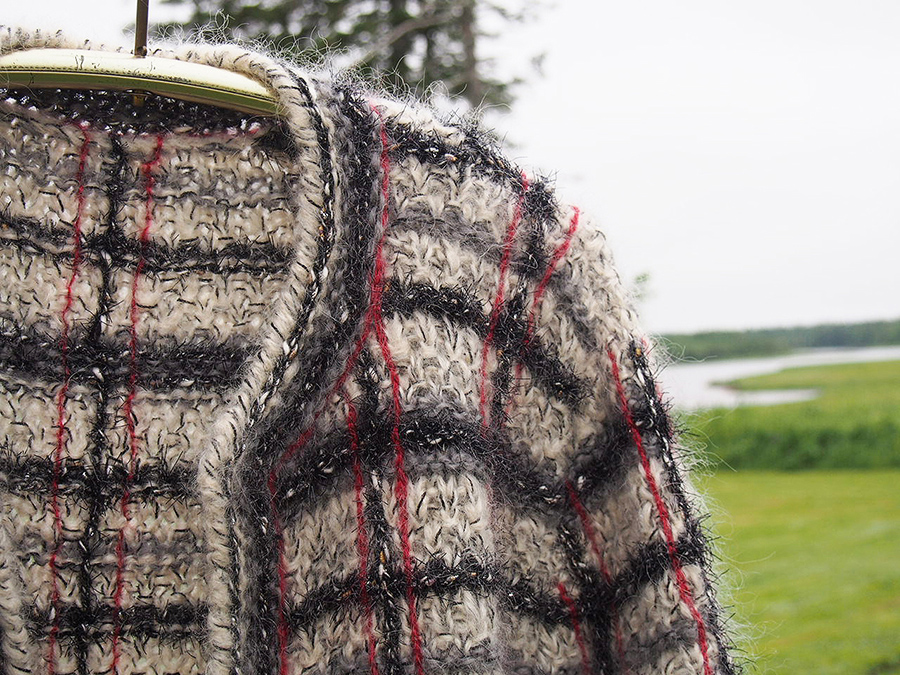 Classic Chanel style Anny Blatt pattern: Harvey Jacket modeled by Dayana Knits for the Anny Blatt Knitter's Retreat, Oct 26-29, Maine