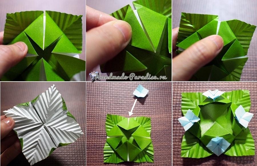 Гортензия из бумаги в технике оригами (10)