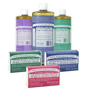 Several bottles and bars of Dr. Bronner's soap
