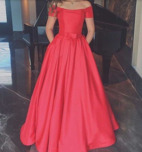 A-line Off-the-shoulder Satin Sashes / Ribbons Floor-length Short Sleeve Vintage Prom Dresses –Price:CA$185.99 ( 60.0% OFF)