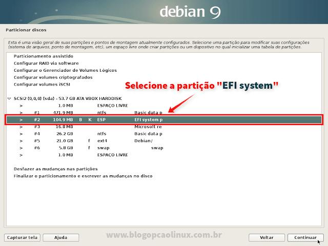 """Selecione a partição """"EFI system"""""""