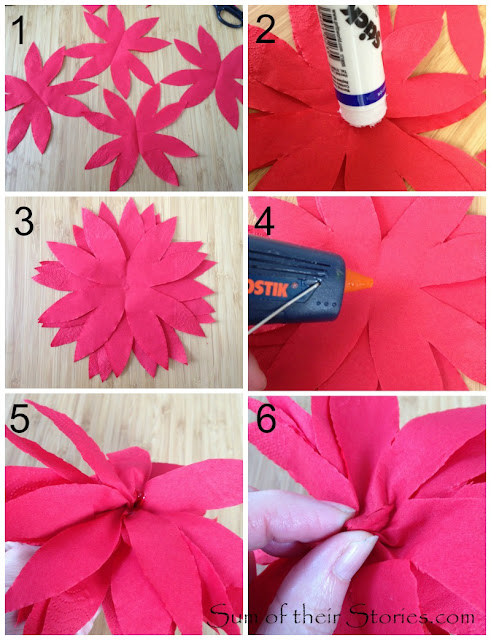 making poinsettias from paper serviettes