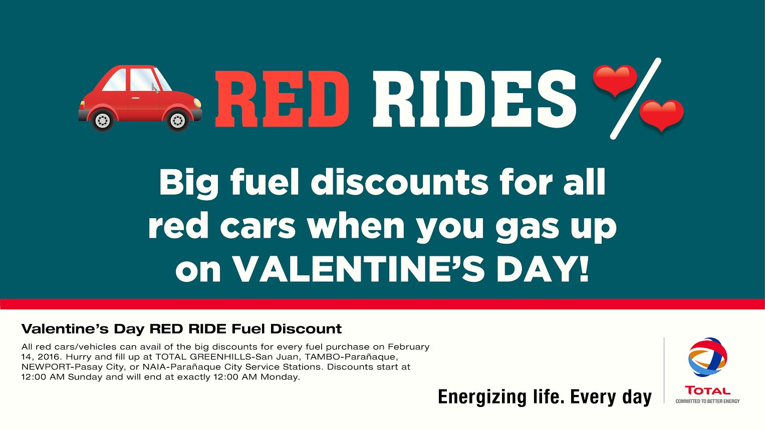 e8f5f1d4f5 Gas up on Valentine s Day RED RIDE Fuel discount at TOTAL service stations!