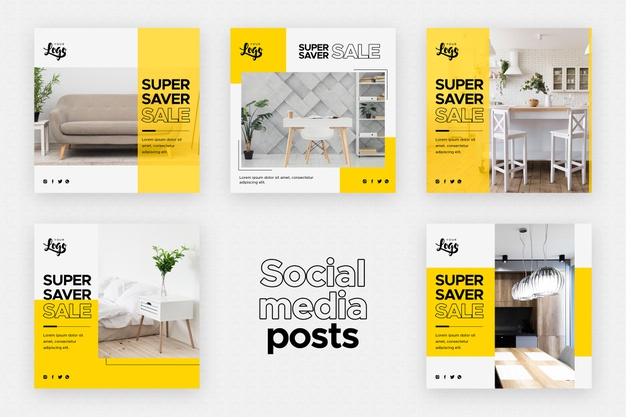Social media posts template with home decor business Free Psd