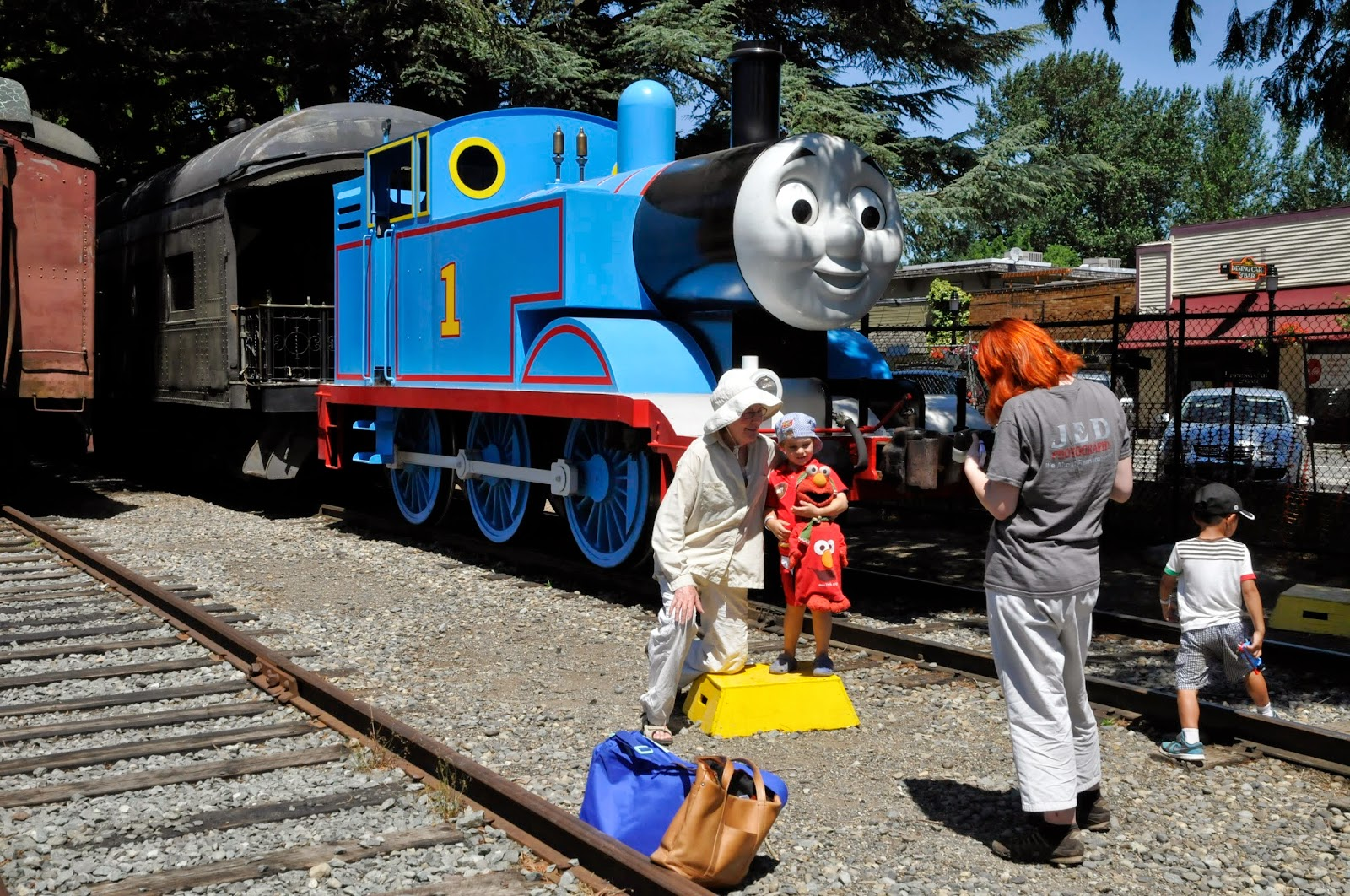 Thomas the Tank Engine poses for photos with children of all ages.