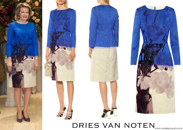 Queen Mathilde wore DRIES VAN NOTEN Floral printed jacquard midi dress