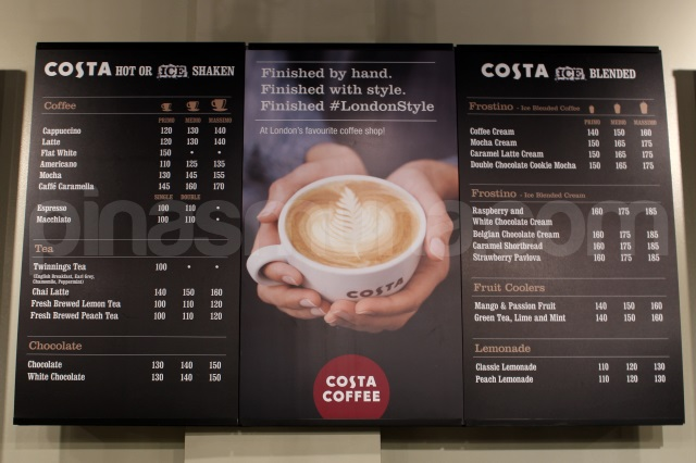 Costa Coffee Food Menu Prices