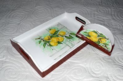 Decoupage- drewniany komplet z cytryną oraz scrapbookowe kartki urodzinowe.