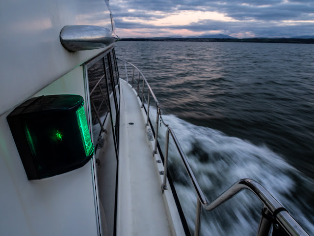 Photo of Ravensdale's starboard navigation light on the way back to Maryport