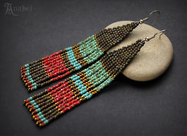 Длинные серьги в этническом стиле. Авторское украшение из бисера