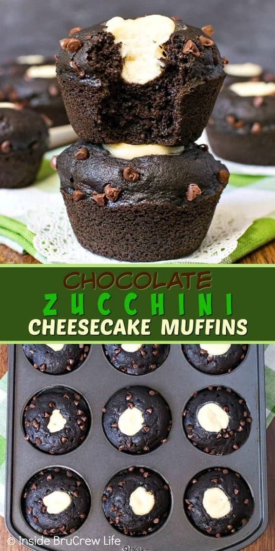 Chocolate Zucchini Cheesecake Muffins recipe
