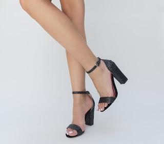 Sandale negru cu toc gros cu gliter