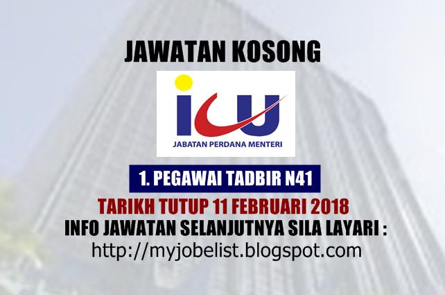 Jawatan Kosong Jabatan Perdana Menteri (ICU JPM) Februari 2018