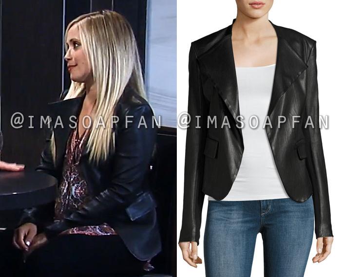 Lulu Spencer Falconeri, Emme Rylan, Black Leather Peplum Jacket, General Hospital, GH