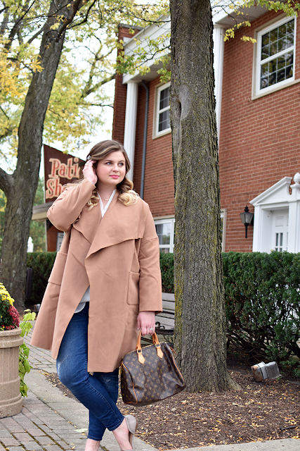 shein wrap coat camel coat jcrew toothpick denim white lush top louis vuitton speedy 30 tiny bar necklace sole society dorsay flats neutral fall outfit of the day winter clothing jacket4.png