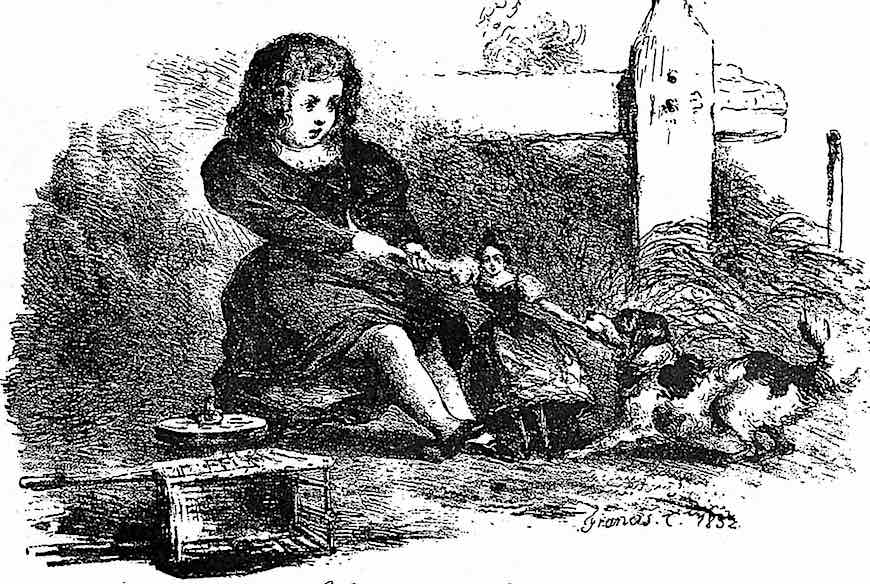 an 1832 illustration of a girl and a dog  tug of war over a doll