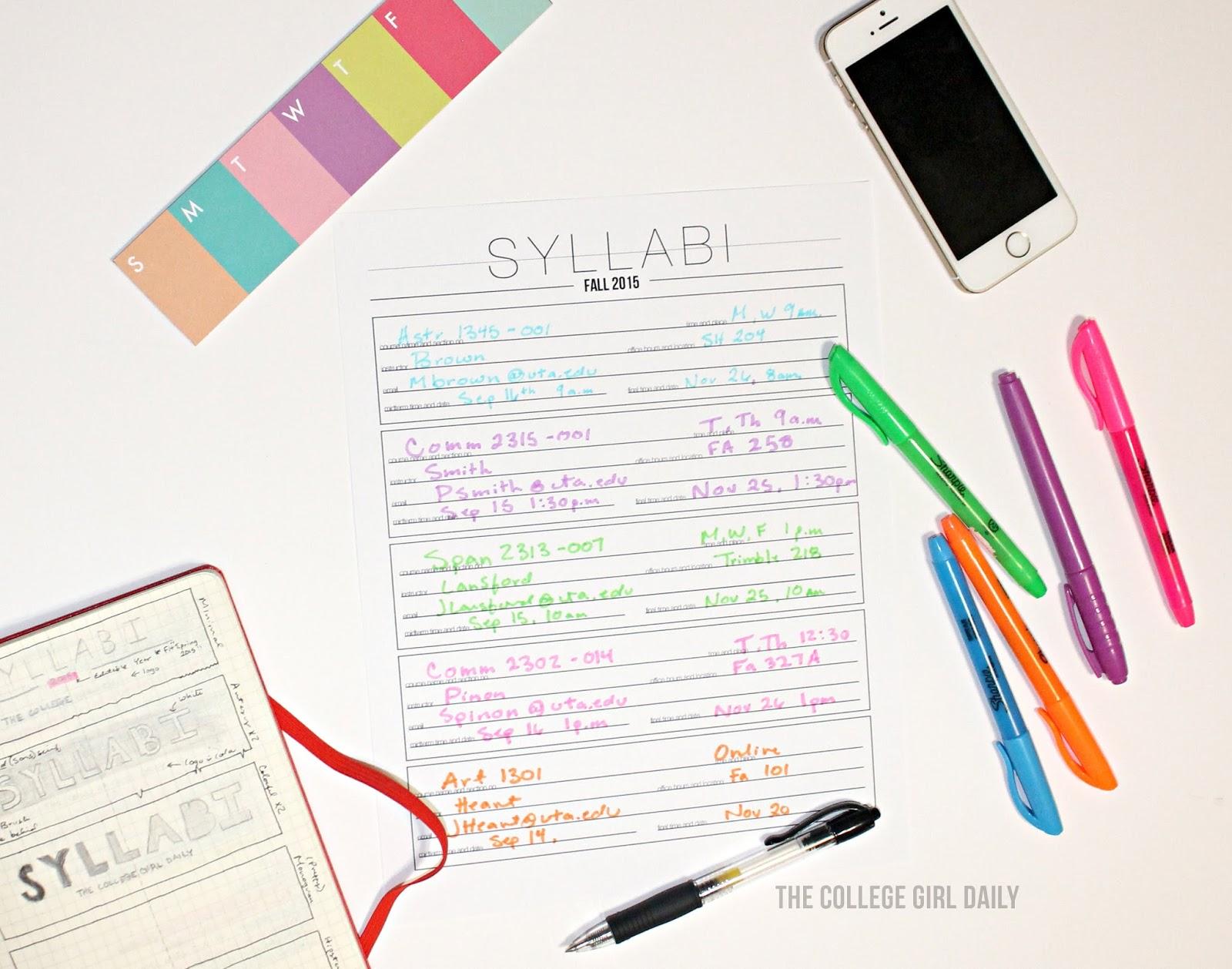Printable Syllabi Sheet
