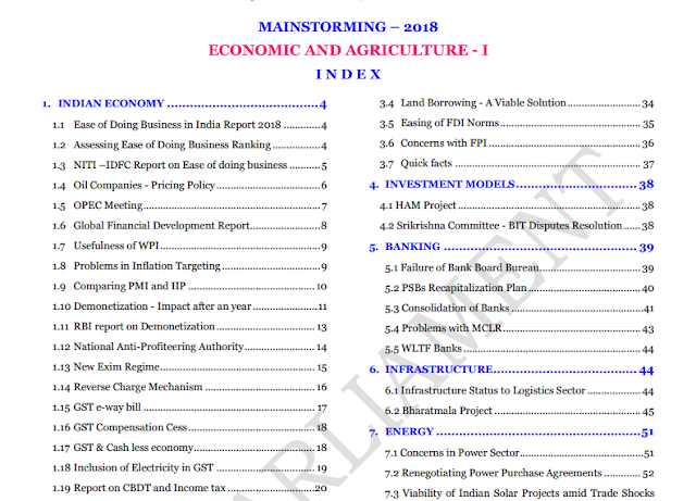 Economics And Agriculture For UPSC CSE IAS Exam Pdf Download