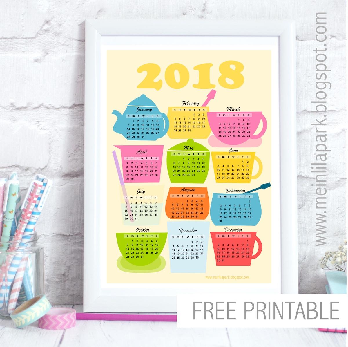 Free Printable 2018 Kitchen Calendar   Kalender   Freebie